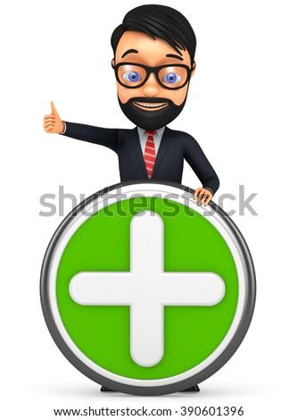 3d businessman holding a plus - stock photo