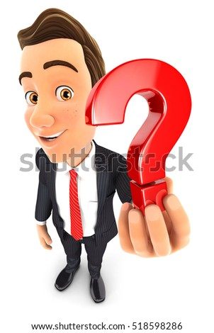 3d businessman holding a question mark icon, illustration with isolated white background