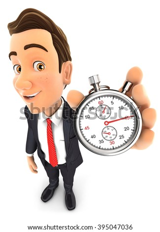 3d businessman holding a stopwatch, isolated white background - stock photo
