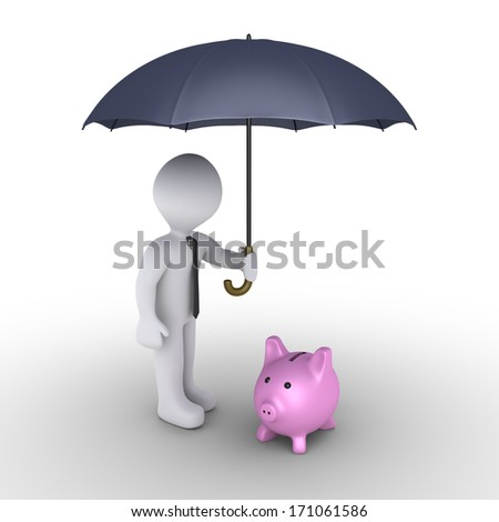 3d businessman holding an umbrella protects a pig money box - stock photo