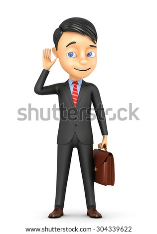 3d businessman interested eavesdropping - stock photo