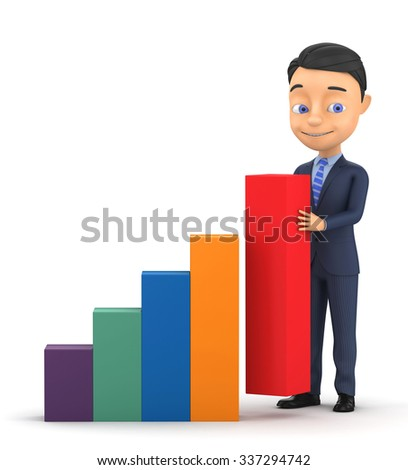 3d businessman is building graph