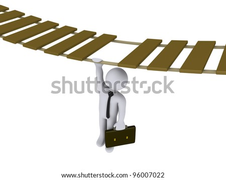 3d businessman is hanging from a suspended bridge - stock photo