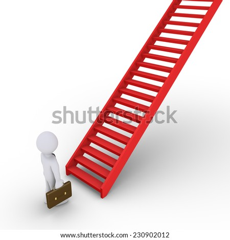 3d businessman is in front of a rising staircase - stock photo