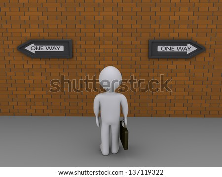 3d businessman is looking at signs pointing at different directions - stock photo