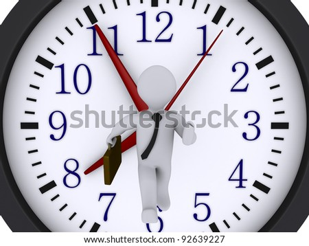 3d businessman is running in front of a clock - stock photo