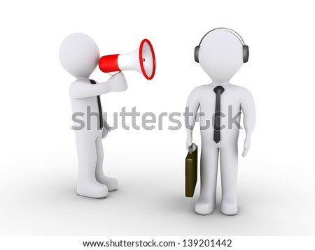 3d businessman is shouting using megaphone to another who is wearing a headset