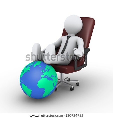 3d businessman is sitting on chair with his feet on the globe