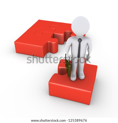 3d businessman is standing on puzzle piece separated from others