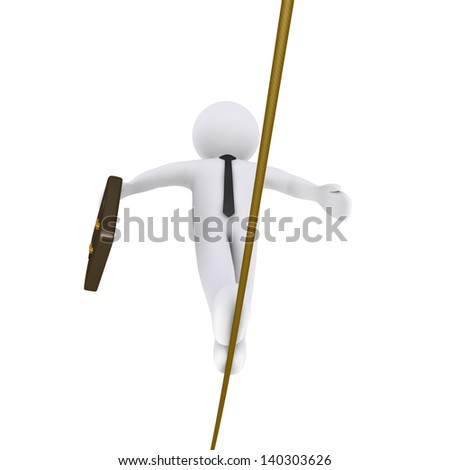 3d businessman is walking on a tightrope holding a suitcase - stock photo