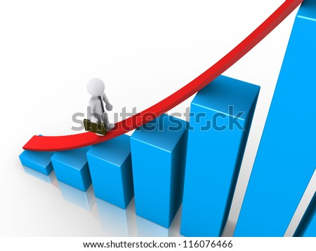 3d businessman is walking to the top of a growing graph
