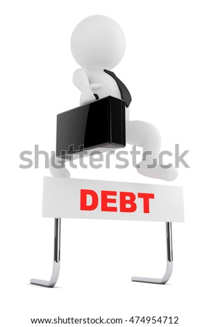 3d Businessman jump over the Debt barrier on a white background. 3d Rendering