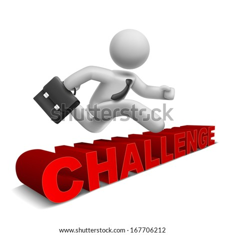 3d businessman jumping over 'challenge' word with white background - stock photo