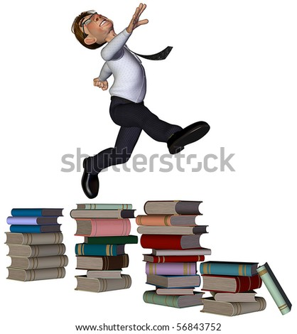 3d businessman jumping the books - stock photo