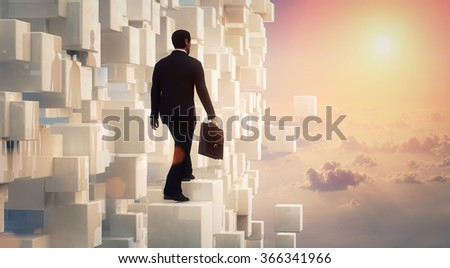 3D Businessman looking to the future inside an amazing scene with clouds  - stock photo