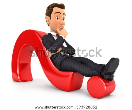 3d businessman lying on question mark, isolated white background