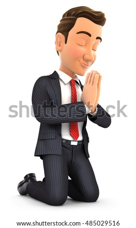 3d businessman on his knees praying, illustration with isolated white background