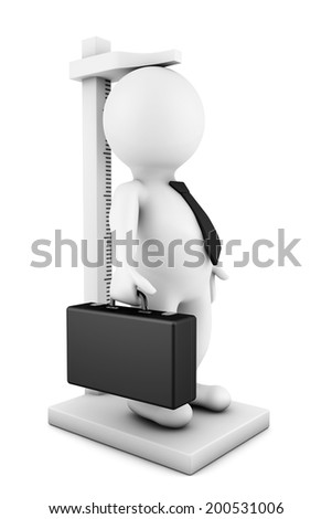 3d businessman person measure their growth on a white background - stock photo