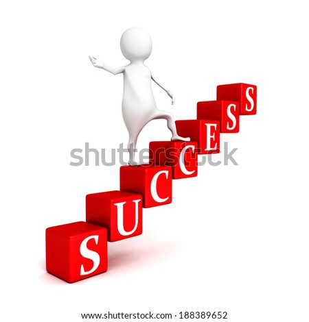 3d businessman person on success block ladder. business success 3d render illustration