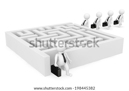 3d businessman persons go to a labyrinth on a white background - stock photo
