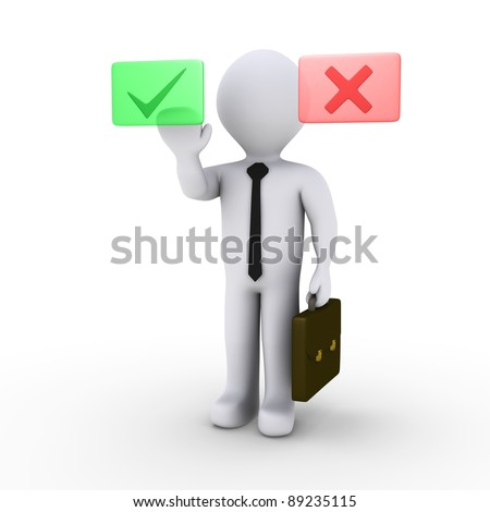 3d businessman prefers the green display than the red - stock photo