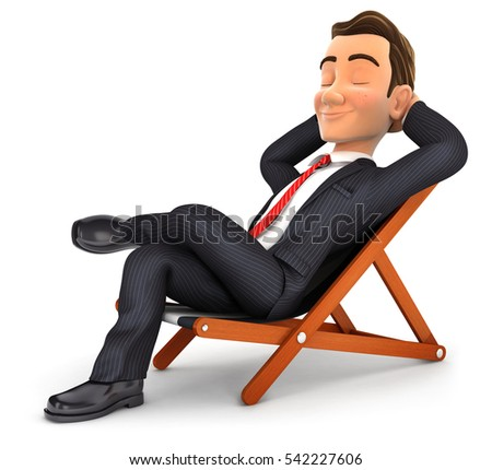 3d businessman relaxing in a deck chair, illustration with isolated white background