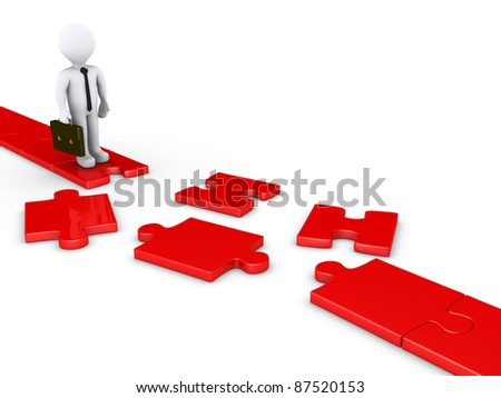 3d businessman standing on edge of a damaged puzzle path - stock photo