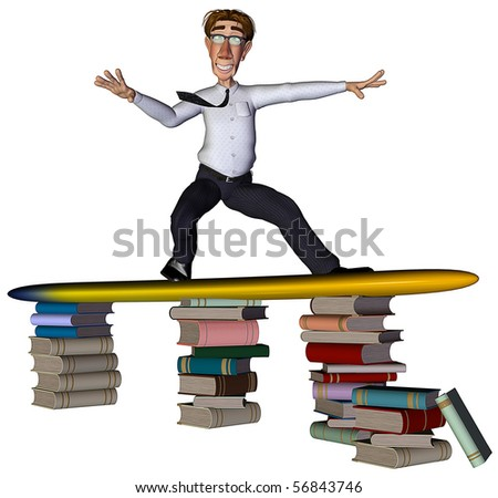 3d businessman surfing books - stock photo