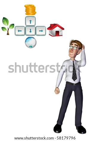 3d businessman thinking about investment - stock photo