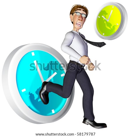 3d businessman time pass by - stock photo