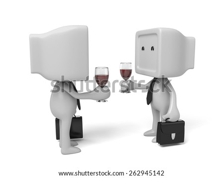 3d businessman with a glass of champagne. 3d image. Isolated white background