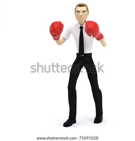 3D businessman with boxing gloves. Isolated - stock photo