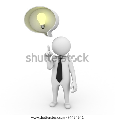 3d businessman with idea lightbulb in speech bubble isolated on white background - stock photo