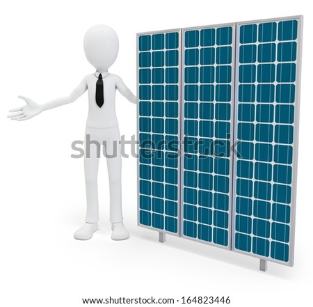 3d businessman with solar panel on white background - stock photo