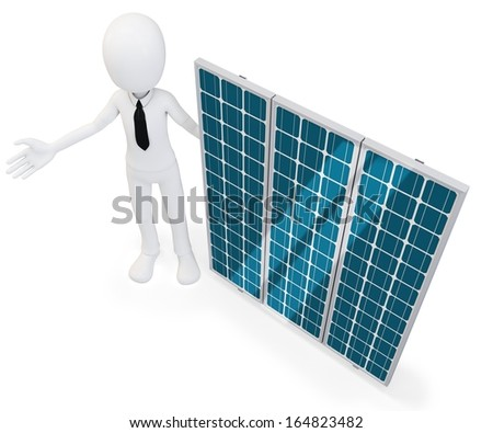 3d businessman with solar panel on white background