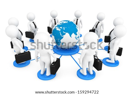 3d businessmans persons with Globe Earth on a white background
