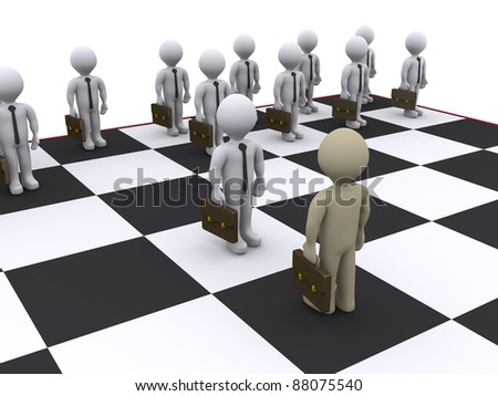3d businessmen as pawns on chessboard - stock photo