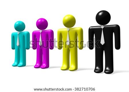 3D businessmen concept - CMYK colors. - stock photo