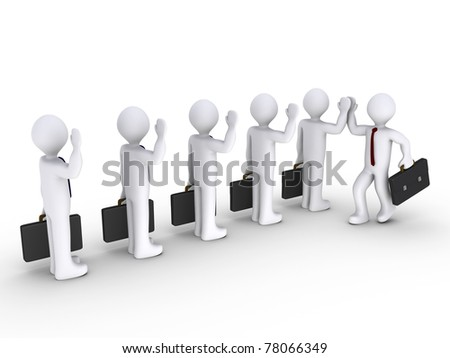 3d businessmen congratulate another one - stock photo