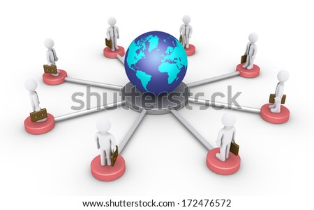 3d businessmen on platforms are connected around the globe - stock photo