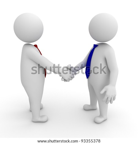 3d businessmen shaking hands on white background - stock photo