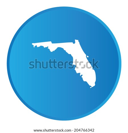 3D Button with the shape of American State - Florida
