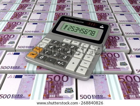 3D Calculator on Europe currency banknote