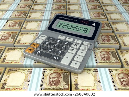 3D Calculator on India money currency banknote - stock photo