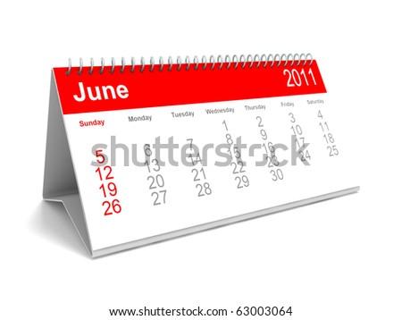 3D calendar June 2011 - stock photo