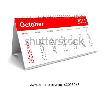 3D calendar October 2011 - stock photo