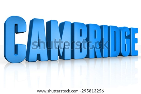 3D Cambridge text on white background