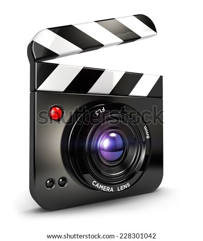 3d camera clapper board, isolated white background, 3d image - stock photo