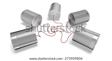 3D. Can, Communication, Tin Can Phone. - stock photo