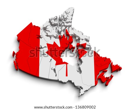 3d canada flag map on white isolated - stock photo